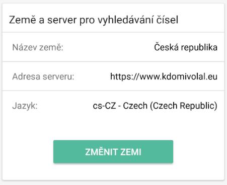 Nastavenie krajiny a servera pre vyhľadávanie