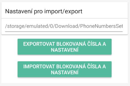 Export a import blokovaných čísel a nastavenie