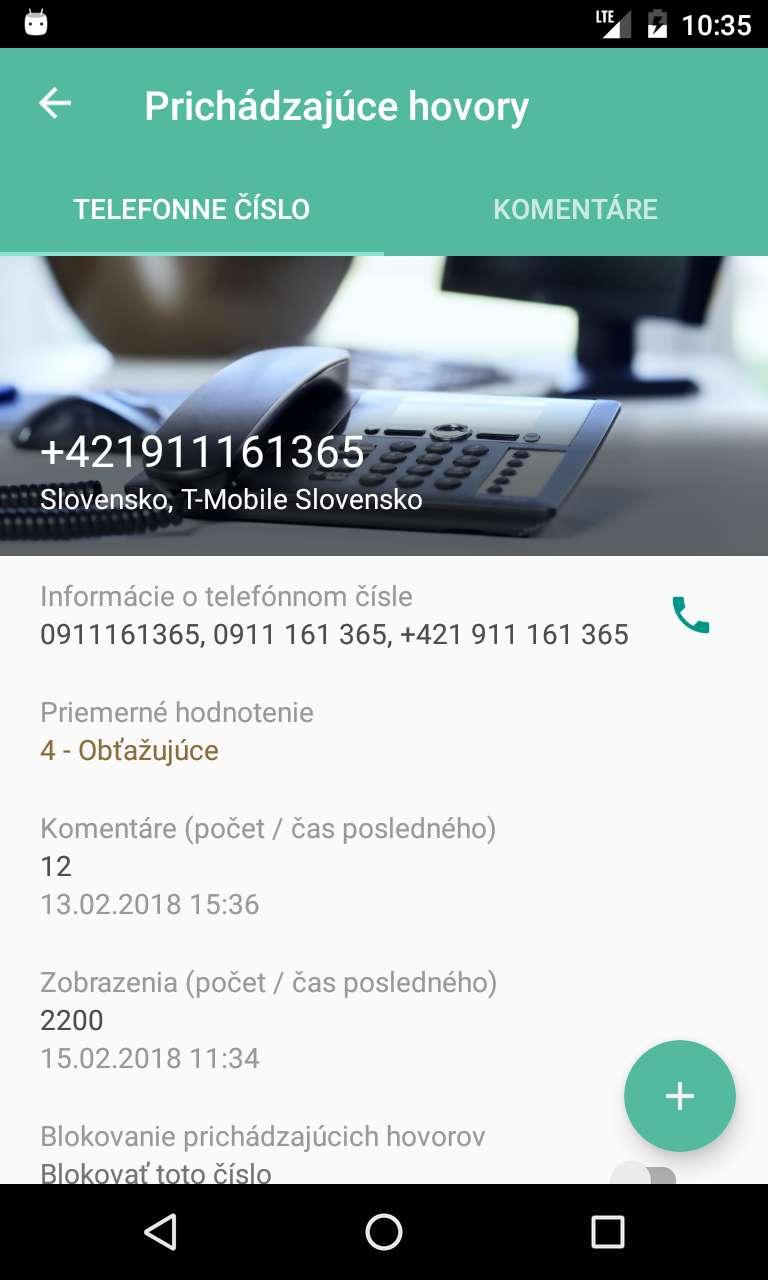 Detail telefónneho čísla